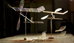 Constructed from very light balsawood sheet and strip, boron filament, carbon fiber and a transparent covering of plastic film, these rubberband-powered planes can fly for up to 40 minutes at a time.