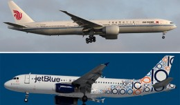 An Air China Boeing 777-300ER arrives at LAX (top, by Brian Gershey) and a JetBlue Airbus A320 takes off from JFK (bottom, by Eric Dunetz).