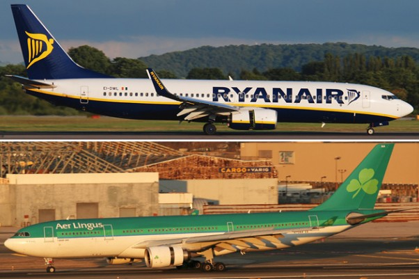 Ryanair's Boeing 737s could soon share a hangar with Aer Lingus's Airbus A330s. (Photos by Gordon Gebert [top] and Mark Hsiung [bottom])