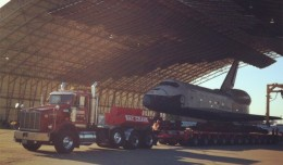 Shuttle Enterprise is on the move early Friday morning.
