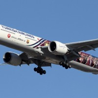 Turkish Airlines Boeing 777-300ER wearing a special FC Barcelona livery. (Photo by Kaz T)
