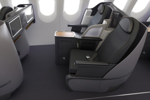 Business class seats on transcon-configured American Airlines Airbus A321. (Image by American Airlines)