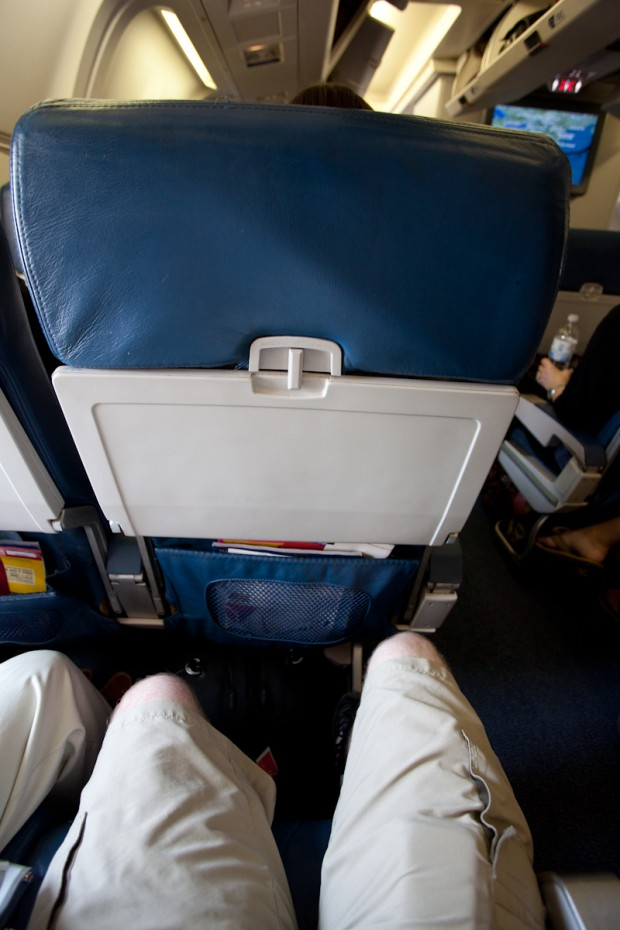 Economy legroom on the Delta Boeing 767-300ER. (Photo by Jeremy Dwyer-Lindgren)