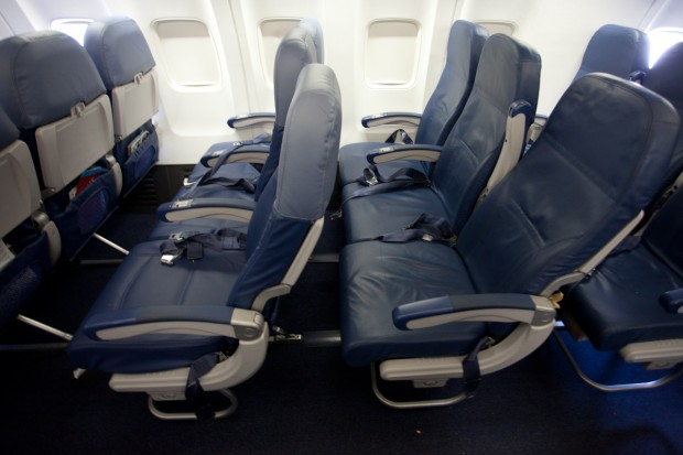 Economy Row vs Coach Row on Delta 737-800. (Photo by Jeremy Dwyer-Lindgren)