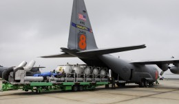 Modular Airborne FireFighting System (MAFFS) being loaded onto an Air Force C-130 Hercules. (Photo by US Air Force)