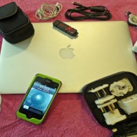 Patrick Smith's traveling bag of gizmos and gadgets. (Photo by Patrick Smith)