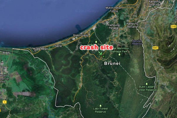 Map of the crash location in Brunei. (Map by Google/Matt Molnar)