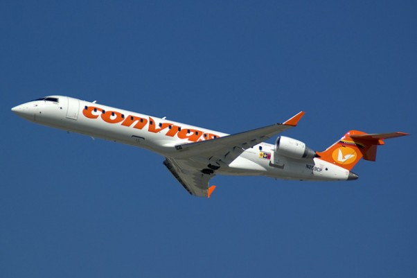 A new Conviasa Bombardier CRJ-700 delivery flight enroute to Caracas from Fort Lauderdale. (Photo by Mark Lawrence)