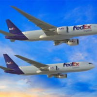 Boeing 767-300 Freighter and 777 Freighter wearing FedEx livery. (Image by Boeing)
