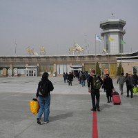 Travelers arrive at Hotan Airport in this 2011 file photo. (Photo by Timothy Merrill via Flickr, CC BY-NC-ND)