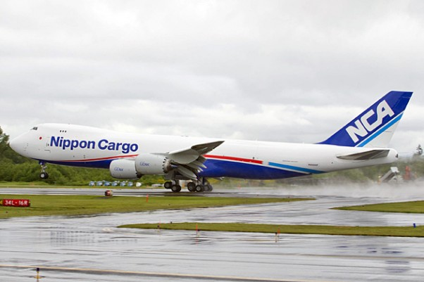 A Nippon Cargo Airlines Boeing 747-8 Freighter takes off from Paine Field in Everett, Wash. (Photo by Boeing/Tim Stake)