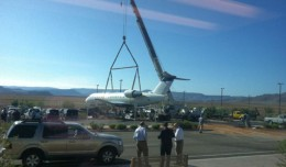 SkyWest Delta Connection CRJ being lifted out of a ditch by crane at St. George Airport in Utah. (Photo by KSL)