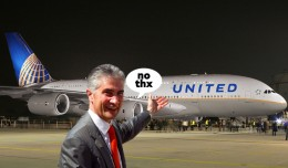 United CEO Jeff Smisek says no to the A380. (Composite by Matt Molnar)
