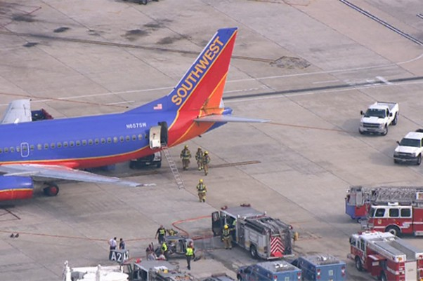 Southwest Flight 709 at BWI. (Photo via WBAL TV)