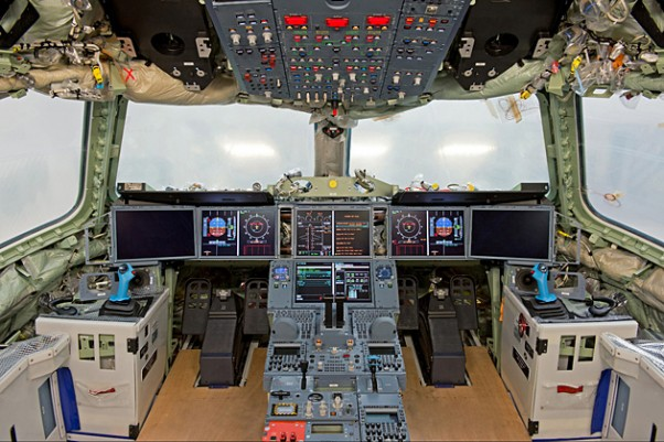 First electrical power-on of A350 XWB MSN1 flight-deck, with its six large interchangeable displays. (Photo by Airbus/P. Pigeyre)