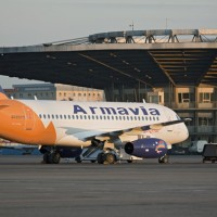 Armavia's first and only Superjet 100 (EK95015) is seen at Moscow's Sheremetyevo International Airport after its inaugural flight in April 2011. (Photo by Leonid Faerberg via Wikipedia)