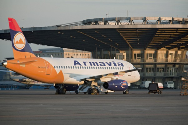 Armavia&#039;s first and only Superjet 100 (EK95015) is seen at Moscow&#039;s Sheremetyevo International Airport after its inaugural flight in April 2011. (Photo by Leonid Faerberg via Wikipedia)
