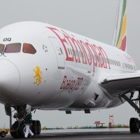 The first Ethiopian 787 Dreamliner is pulled into its parking spot prior to a VIP flight to Mt Kilimanjaro. Note the plane's new titles. (Photo by Jeremy Dwyer-Lindgren)