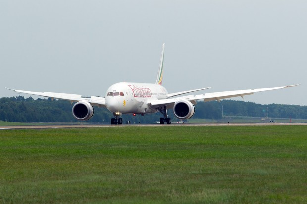 CLICK TO ENTER SLIDESHOW: Ethiopian's first 787 touches down at Washington Dulles on the first leg of its journey. (Photo by Cary Liao)