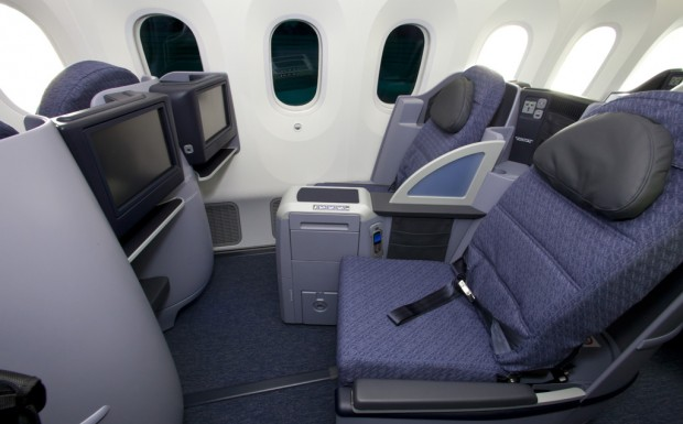 United Airlines 787 Business Class seats.