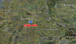 Site of the plane crash near Coburg, Germany. (Map by Google/Matt Molnar)