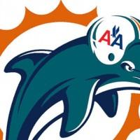 Miami Dolphin wearing an AA helmet.