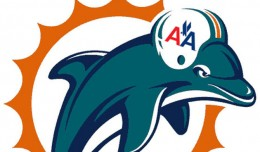 Miami Dolphin wearing an AA helmet.