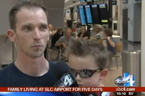 Curtis Saxton was stranded in Salt Lake City with his wife and two children. (Screengrab via ABC4)