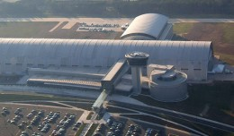 Aerial view of the Smithsonian National Air and Space Museum Steven F. Udvar-Hazy Center.
