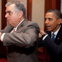 Transportation Secretary Ray LaHood goofing off with President Barack Obama at the White House. (Photo by Pete Souza/White House)