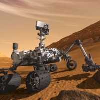NASA&#039;s Mars Science Laboratory Curiosity rover. (Rendering by NASA)
