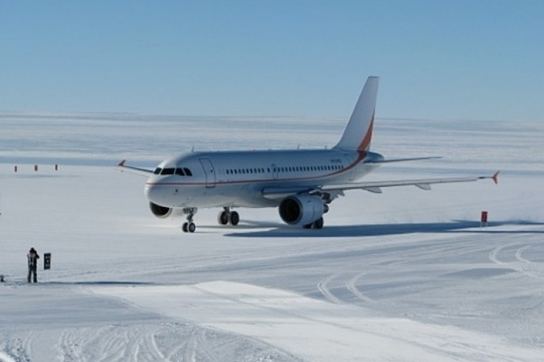 The Australian Antarctic Division Airbus A319 (VH-VHD) on the ice near McMurdo Station, Antarctica. (Photo by Nisha Harris/Australian Antarctic Division)
