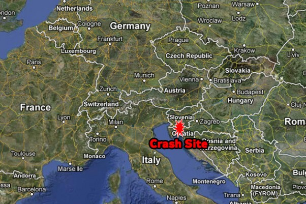 The balloon went down south of Ljubljana, Slovenia. (Map by NYCAviation/Google Maps)