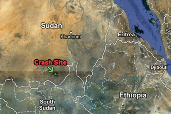 The Antonov An-24 crashed near Talodi, Sudan, near the border with South Sudan. (Map by NYCAviation/Google Maps)