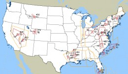 An AIRMET/SIGMET map like this displays forecasts of turbulence for pilots and dispatchers. (Map by National Weather Service)