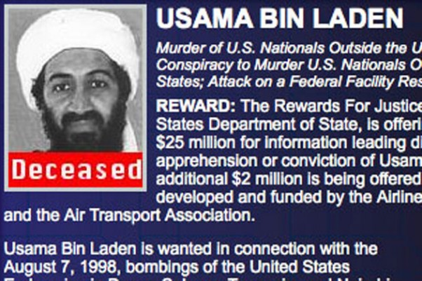 "Osama bin Laden is marked as ""deceased"" on the FBI's 10 Most Wanted List web page following the US raid that left him dead."