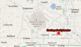 The epicenter was located in Irving, Texas, about 3.4 miles southeast of DFW. (Map by NYCAviation/Google Maps)