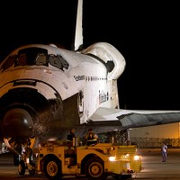 Space shuttle Endeavour is towed before dawn on September 14th from her storage in the Vehicle Assembly Building to the Space Shuttle Landing Facility to be hoisted on to the back of the SCA. (Photo by Suresh Atapattu)
