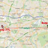 The stowaway's body landed about 7 miles east of Heathrow's Runway 27L. (Map by NYCAviation/Google Maps)