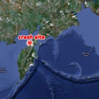 Crash site near Palana on Russia's Kamchatka Peninsula. (Map by Google/NYCAviation)