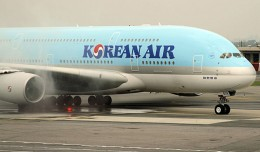 Korean Air's first A380 arrival at JFK in August 2011. (Photo by Matt Molnar/NYCAviation)