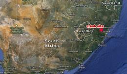 The Beechcraft hit a mountain about 40 miles northwest of Durban, South Africa. (Map by NYCAviation/Google Maps)