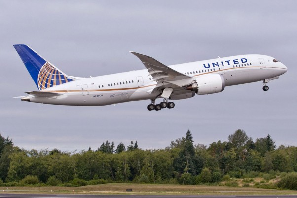 First United Airlines Boeing 787-8 Dreamliner (N20904) takes off on a test flight. (Photo by Boeing)