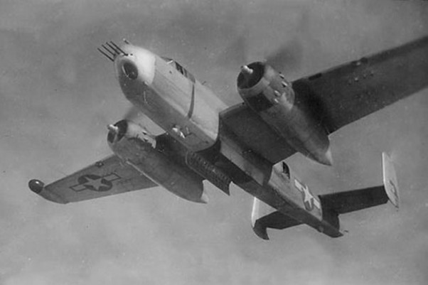 A North American PBJ-1H Mitchell bomber of U.S. Marine Corps bomber squadron VMB-613 with its bomb bay doors open. (Photo by US Marine Corps)