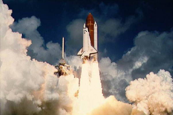 Space Shuttle Atlantis leaves the launch pad for the first time in 1985. (Photo by NASA)