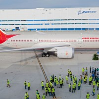 The first Boeing aircraft ever built in South Carolina, Air India's Boeing 787-8 Dreamliner VT-ANI is seen off by a legion of Boeing employees. (Photo by Boeing)