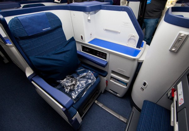 Business class seat aboard an ANA Boeing 787 Dreamliner after arriving in Seattle. (Photo by David Lilienthal/NYCAviaton)