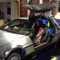 The LiveTV display included a &quot;Back to the Future&quot; DeLorean. (Photo by Jason Rabinowitz)