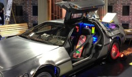 "The LiveTV display included a ""Back to the Future"" DeLorean. (Photo by Jason Rabinowitz)"