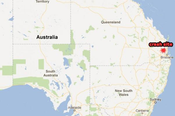 The vintage de Havilland DH.84 Dragon crashed northwest of Brisbane. (Map by NYCAviation/Google Maps)